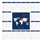 Europe 2016 Calendar Vector Template. Week Starts Sunday Royalty Free Stock Image