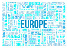 Europe, capitals of countries and other cities words cloud background. Europe, national capitals of countries and other cities words text cloud background Stock Image