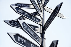Europe capitals signpost Stock Photo
