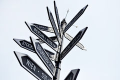 Europe capitals signpost. Street signpost showing distance to Europe capital cities Royalty Free Stock Images