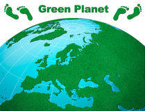 Europe centric green planet earth Stock Image