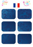 EURO 2016 - 2018 Championship Soccer. 2016-2020 European championship soccer different cards set. Abstract blue background with sport symbols. Euro France Stock Photography