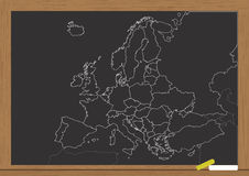 Europe chart chalkboard Royalty Free Stock Photo