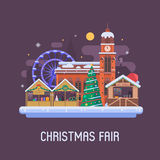 Europe Christmas Fair Background. Christmas fair in winter town square. Traditional europe christmas market with souvenir stalls, Xmas tree, gift shops, ferris Royalty Free Stock Photo