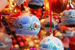 Europe Christmas fair toy balloon tree decoration family Royalty Free Stock Photos