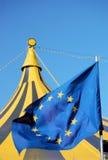 Europe and the circus .. European flag waving over a circus tent stock photos