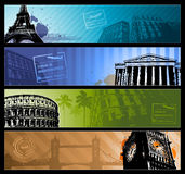 Europe cities Horizontal travel banners Stock Image