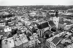 Europe city capital view panorama black and white Royalty Free Stock Images