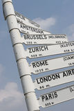Europe City Flight Travel Sign stock images