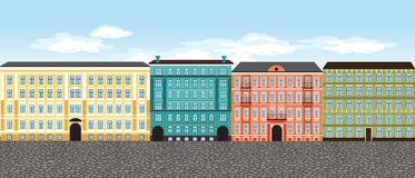 Europe city street, vector set 4, multi-colored retro houses Royalty Free Stock Photo