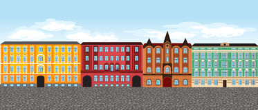 Europe city street, vector set 3, multi-colored retro houses Royalty Free Stock Photo