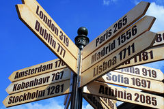 European Cities distance Travel Sign Stock Photo