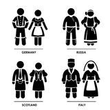 Europe Clothing Costume. A set of pictograms representing people clothing from Germany, Russia, Scotland, and Italy Royalty Free Stock Image