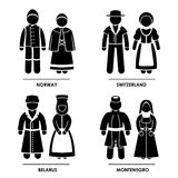 Europe Clothing Costume. A set of pictograms representing people clothing from Norway, Switzerland, Belarus, and Montenegro Stock Photo