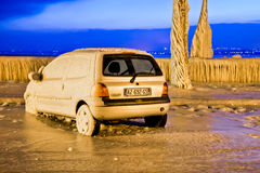 Europe Cold Snap - Frozen Car Royalty Free Stock Photography