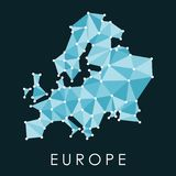 Europe connected map. Europe connected low poly map vector - geometric style illustration vector illustration