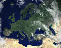 Europe Continent Satellite Space View. The continent of Europe with a satellite space view. Nice image of the world we call planet Earth Stock Photo