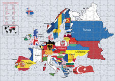Europe Continental country flags and map Puzzle. Europe  Continental country flags and map on a blue background Royalty Free Stock Image