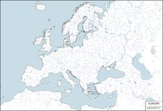 Europe - contour map, vector illustration Stock Photos