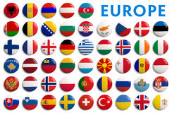 Europe counties flags - 3D realistic Royalty Free Stock Photos