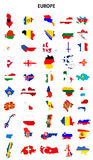 Europe countries. Europe continent countries flag map shape pack Stock Photos
