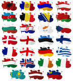 Europe countries flag blots Part 1 Royalty Free Stock Photos