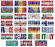 Europe countries flag words Part 1. Europe countries (From A to L) flag words on a white background Royalty Free Stock Images