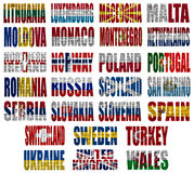 Europe countries flag words Part 2. Europe countries (From L to W) flag words on a white background Stock Photo