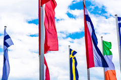 Europe countries flags against a blue sky Royalty Free Stock Images