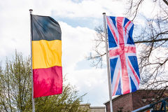 Europe countries flags against a blue sky Royalty Free Stock Photography