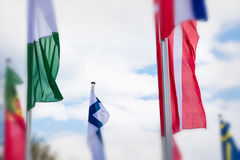 Europe countries flags against a blue sky Stock Image