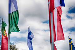 Europe countries flags against a blue sky Stock Photography