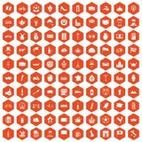 100 europe countries icons hexagon orange. 100 europe countries icons set in orange hexagon isolated vector illustration stock illustration