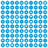 100 europe countries icons set blue. 100 europe countries icons set in blue hexagon isolated vector illustration stock illustration