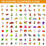 100 europe countries  icons set, cartoon style Stock Photo