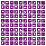 100 europe countries icons set grunge purple. 100 europe countries icons set in grunge style purple color isolated on white background vector illustration Stock Image