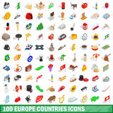 100 europe countries icons set, isometric 3d style Royalty Free Stock Photos