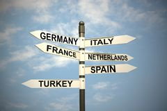 Europe countries and signpost against blue sky stock illustration
