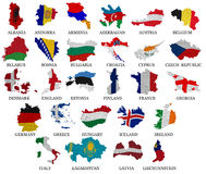 Europe countries flag maps Part 1 Stock Photo