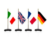 Europe country flags. Country flags of Italy, UK, France, and German Royalty Free Stock Photography