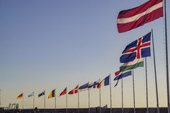 Europe country flags swinging Royalty Free Stock Photo