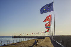 Europe country flags swinging Stock Photos