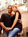 Europe Couple France. A couple in a quaint european street, France royalty free stock photo