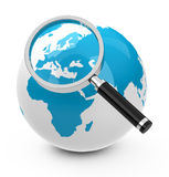 Europe. 3d generated picture of a globe with a magnifying glass royalty free illustration