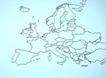Europe 3D. Illustration map continent mainland countries Royalty Free Stock Photo