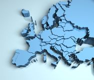 Europe 3D map illustration continent countries. Europe 3D map illustration continent shape mainland Royalty Free Stock Images