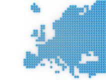 Europe. 3d modeled shape of Europe composed of blue boxes Royalty Free Stock Images
