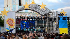 Europe Day celebration in Kiev, Ukraine, stock video footage