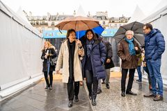 Europe Day 2019 in front of Paris City Hall royalty free stock image