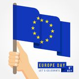 Europe day with hand hold european flag vector design stock illustration